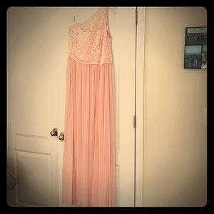 David's Bridal long corded one shoulder dress